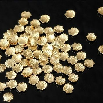 100pcs Gold Alloy Metal Shell Studs Beads 5mm for Nail Art Cellphone DIY Decoration Craft by Good2Deal