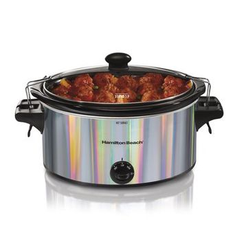 Hamilton Beach Stay or Go 5-Quart Shimmer Slow Cooker, Silver