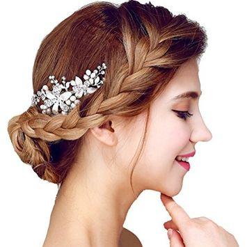 Wedding Leaf Decorativ Simulated Pearl Hair Comb Clear Crystal,White 7