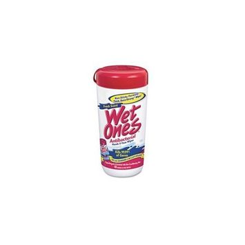 Wet Ones Antibacterial Cloth Towelettes, 5-3/4 x 7-1/2, 40/Canister, 12/Carton