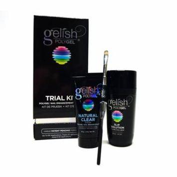 Harmony Gelish POLYGEL Trial Kit ~Clear 2oz, Slip Solution Poly Tool/Oval Brush
