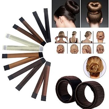 Hair Bun Crown Shapers Modern Hair Styling Maker Beauty Donut Hair Style Tools (6pcs colors)