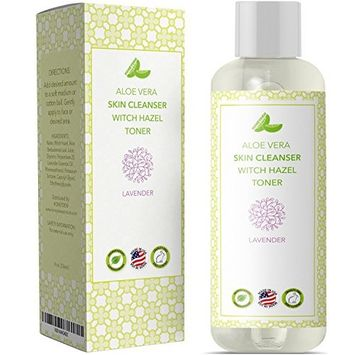 Pure Witch Hazel - Alcohol Free – Skin & Facial Astringent - Aloe Vera + Lavender Oil For Men & For Women – Natural Skin Care – Oily Dry Combination + Sensitive Skin - Paraben Free