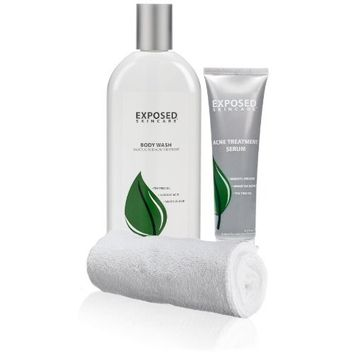 Exposed Skin Care Back and Body Wash Acne Treatment Kit - Exfoliating Treatment Kit, Clean and Smooth Skin with Tea Tree Oil, Includes 12oz Body Wash & 2 Acne - with a free Large Exfoliating Cloth