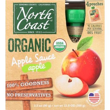 North Coast Organic Apple Sauce 4ct Pouches [Pack of 4]