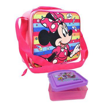 Minnie Mouse Lunch Bag w/ Shoulder Strap & Sandwich Food Container 2-Piece Set