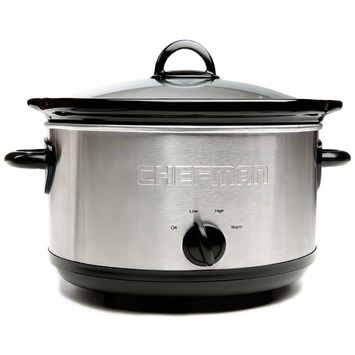 Chefman Slow Cooker with Removable 6 qt. Stoneware Crock in Stainless Steel/Black RJ15-6-SS-R