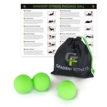 Gravity Fitness 2-in-1 Massage Ball Set, Includes Peanut and Single Ball & Bag