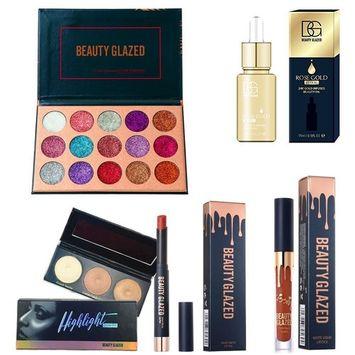 Beauty Glazed Christmas Gift Makeup Set Box 15 Colors Pressed Gitter Eyeshadow Palette Matte Edition Textured Eyeshadow Pallete 24K GOLD INFUSED BEAUTY OIL Matte Lipstick