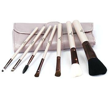 Beauty Glazed Makeup Brush Set 7pcs Premium Cosmetic Brushes for Foundation Blending Blush Concealer Eye Shadow,Included PU Leather Bag
