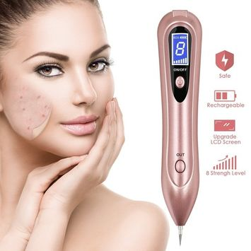 Skin Tag Remover, Mole Removal Pen, Portable Spot Eraser Pro Wart Remover with LCD Display & 8 Strength Levels Adjustable for Body Facial Freckle Nevus Warts Age Spot Tattoo Remover (Rose G