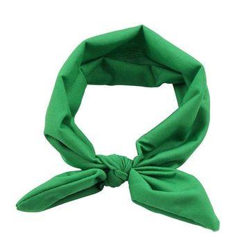 Women Yoga Elastic Bow Hairband Turban Knotted Rabbit Hair Band Headband