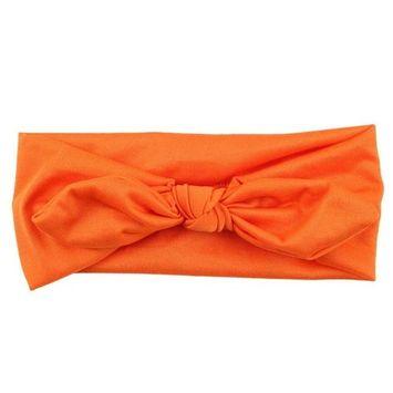 Women Yoga Elastic Bow Hairband Turban Knotted Rabbit Hair Band Headband (Orange)