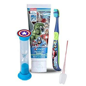 Avengers Captain America 3pc Bright Smile Oral Hygiene Set! Soft Manual Toothbrush, Toothpaste & Brushing Timer! Plus Bonus