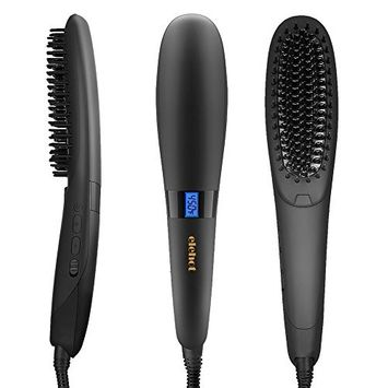 ELEHOT Electric Hair Straightening Brush Hair Straightener Comb (450℉/230°C Adjustable Temperature, Rapid Heating Technology, Suitable for 100V-240V, Anti-scald) (Black)