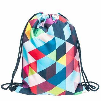 Voberry® Fashion Unisex Emoji Backpacks 3D Printing Bags Drawstring Backpack