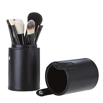 Voberry Professional Faux Leather Makeup Brushes Holder Cosmetic Brush Container Cylinder Vessel