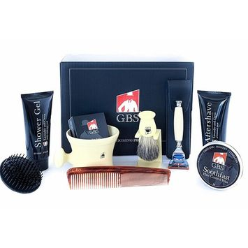 GBS-The Essential Man Shave and Grooming Kit! Includes:Scalp Brush, Lavender Shower Gel, Ivory Shave Mug, Soap, Badger Brush, Fusion Razor, Lavender Aftershave Balm, Soothe-fast, and 7