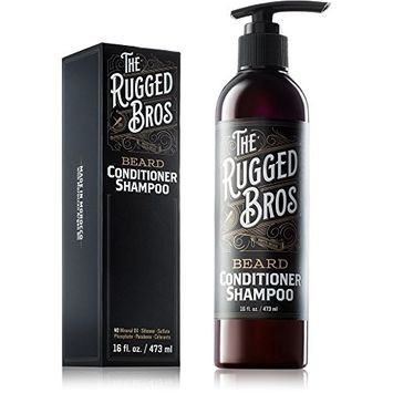 3-in-1 Beard Conditioner, Grooming Shampoo, and Face Wash by The Rugged Bros - Made with Beard Oils, Authentic Organic Moroccan Argan Oil one of the Best Growth Products (16 oz)