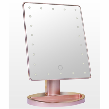 16 LED Lights Vanity Makeup Mirror with Touch Screen Lighted,180° rotation Tabletop Cosmetic Mirror (Rose Gold)