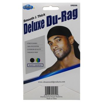 Dream Du-Rag Deluxe (12 Pieces) Smooth & Thick Black Glowing