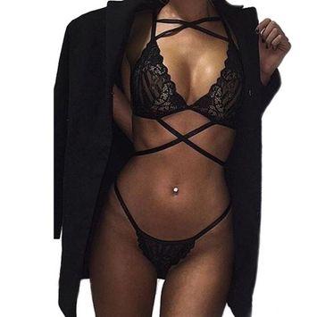 Voberry® Women Translucent Underwear Sheer Lace Frenum Strap Lingerie Bra Top Bustier Set