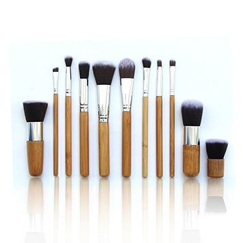Beauty Star 11Pcs Professional Makeup Brush Set Tool with Comfortable Natural Wood Handles Great for Precision Contouring Face Cheeks and Eyes