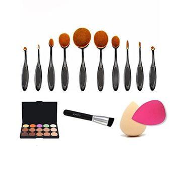 Sunfei 10PCS Toothbrush Eyebrow Foundation Eyeliner Lip Oval Brushes+1PC Powder brush+15 Colors Concealer Palette+2 PCS Sponge Puffs