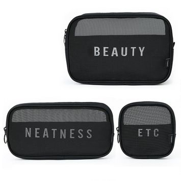 BestFire 3pcs/set Portable Travel Toiletry Cosmetic Bag Makeup Bag Organizer Multiple Function Mesh Breathable Travel Home Admission Package, Black (Large, Medium & Small)