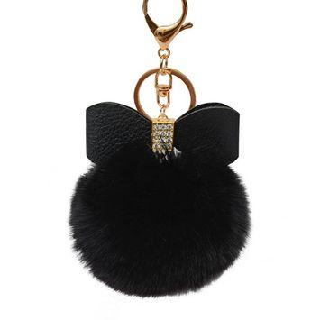 Voberry Fluffy Faux Rabbit Fur Ball Bowknot Charm Car Keychain Handbag Key Ring BK