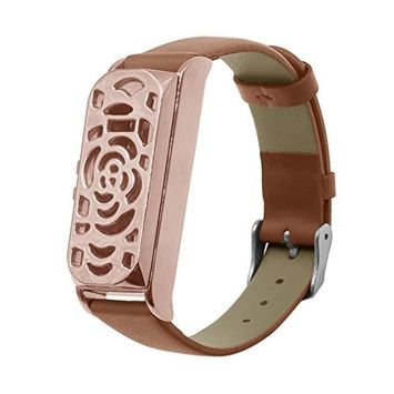 Voberry Leather Accessory Bangle Watch Band Wrist Strap + Metal Frame for Fitbit Flex