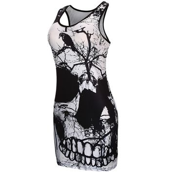 Voberry® Women's Sleeveless Skull Printed Summer Vintage Vest Dress Loose Casual Dress