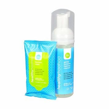 healthy hoohoo All Natural Gentle Paraben and Fragrance Free Foaming Cleanser (5.0 OZ) and Travel Pack of Wipes (10 Wipes) Combo Pack ...