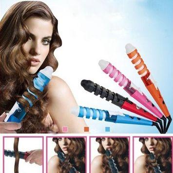La Casa Spiral Curl Ceramic Curling Iron Dual HAIR Curler- Orange