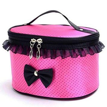 Portable Makeup Bag Cute Bowknot Handbag, Staron Women Zipper Cosmetic Bag Travel Makeup Storage Case Box Organizer Toiletry Bags