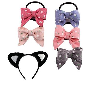 EYX Formula 5 Pcs Lovely Colorful Butterfly Hair Tie Elastic Hair Bow Ties Ponytail Holders & Cat Ears Headband Hair Styling Tool