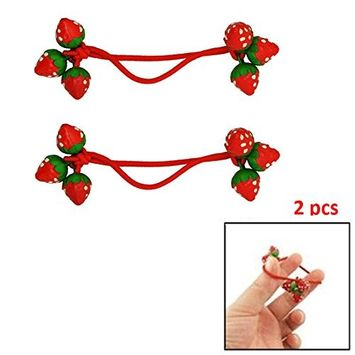 IebeautyCute 2/4/6 Pcs Red Strawberry Decorate Elastic Band Hair Tie for Girls (2pcs)