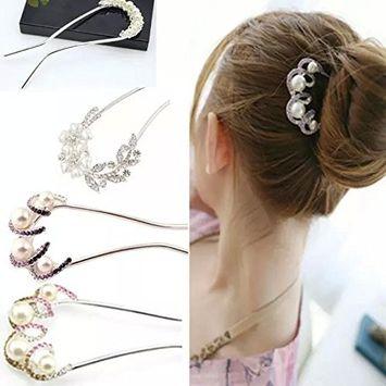 Rhinestone Bobby Pins Pearl Wedding Hair Accessories for Brides, U-shaped Crystal Hair Pins Bridal Hair Clips with 5 Pcs Pearl Flower Wedding Hair Pin for Wedding Party, Purple