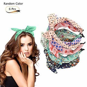 6 Pcs Colorful Headband, Fashion Floral Polka Dot Stripe Bow Randomly, Lovely Ears Hairbands Hair Accessories for Women, Girls