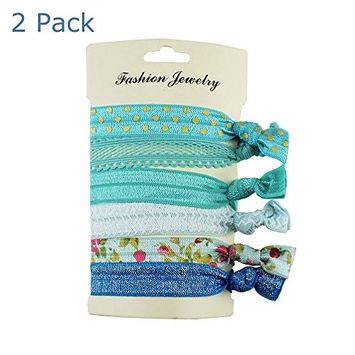 IebeautyHair Ties Ponytail Holders - No Crease Ouchless Pony Tail Holder Elastic Ribbon bands -Various cute design Set of 10 pcs