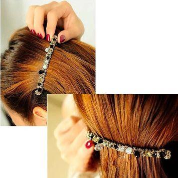 EYX Formula Colorful super flash crystal irregular winding broadside Hairpin hairpin,Korean Rhinestone Jewelry Hairpins baeuty tools for hair styling