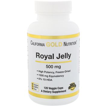 California Gold Nutrition, Royal Jelly, 500 mg, 120 Veggie Caps [Package Quantity : 120 Veggie Capsules]