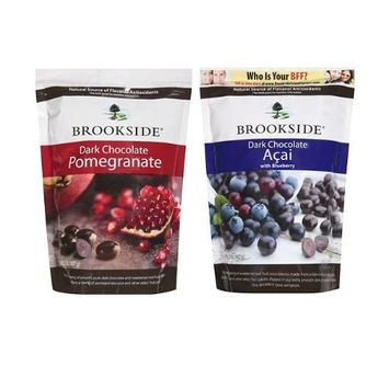 Brookside Dark Chocolate Pomegranate and Fruit Flavors Candy, 32-Ounce Bag and Brookside Dark Chocolate Acai and Blueberry Flavors Candy, 32-Ounce Bag (Pack of 2)