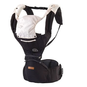 Baby Carrier Black Hiking Hipseat - 2017 New Design Hip Seat Baby Carrier For Kids, Toddlers, Infants, New Dad and Mums, Including Detachable Hood, 2 Cotton Bibs and 2 Pockets