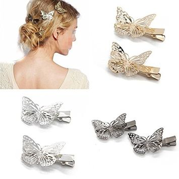 Coobbar 6pcs Hairwear Hair Grips Metal Gold Color Butterfly Hair Clip Hairpins