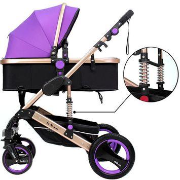 TINTON LIFE Luxury Newborn Baby Foldable Anti-shock High View Carriage Infant Stroller Pushchair Pram (Purple)