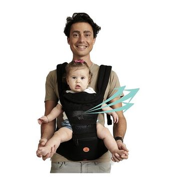 Mesh Baby Carrier Black Hipseat - 2017 New Design 6 Carrying Positions Child Carrier Backpack for Infants and Toddlers 7.7-44lbs(3-36 Months), New Dads and Mums