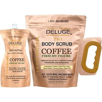 DELUGE - Organic Coffee Body Scrub, Tightens, Tones, Reduces Cellulite 100% Natural 10 OZ ++ BODY BUTTER 6 OZ