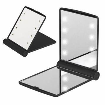 TSV LED Travel Mirror Foldable Personal Makeup Beauty Vanity Lights 2X Magnified 8 Lighted Bulbs