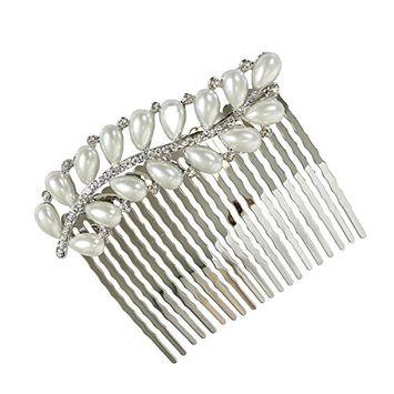 Rhinestone and Pearl Leaf Hair Comb, Silver